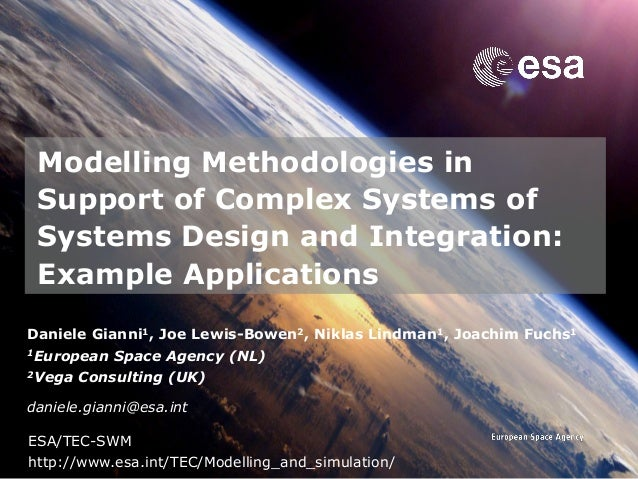 → Modelling Methodologies in Support of Complex Systems of Systems Design and Integration: Example Applications Daniele Gi...