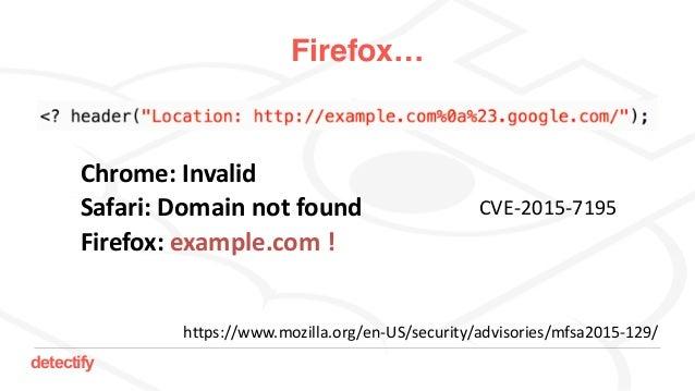 detectify Firefox… Chrome:Invalid Safari:Domainnotfound Firefox:example.com! https://www.mozilla.org/en-US/securit...