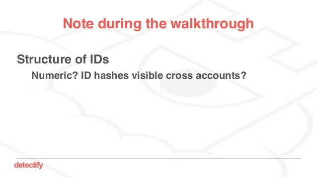 detectify Note during the walkthrough Structure of IDs Numeric? ID hashes visible cross accounts?