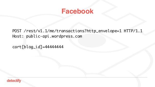 detectify Facebook POST /rest/v1.1/me/transactions?http_envelope=1 HTTP/1.1 Host: public-api.wordpress.com cart[blog_id]=4...