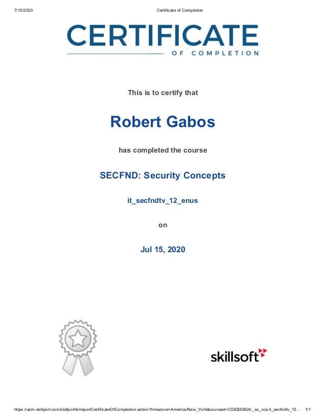 7/15/2020 Certificate of Completion https://acm.skillport.com/skillportfe/reportCertificateOfCompletion.action?timezone=Am...