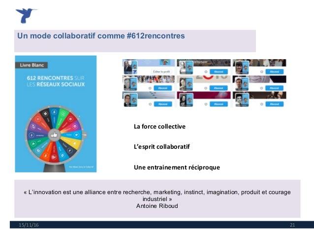 15/11/16 21 Un mode collaboratif comme #612rencontres «L'innovationestuneallianceentrerecherche,marketing,instinct...