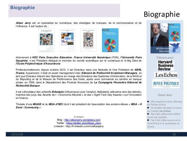 Biographie 15/11/16 23 Tribunes pour Classé dans ►100 comptes les plus influents de Twitter à Paris ►15 comptes d'expert...