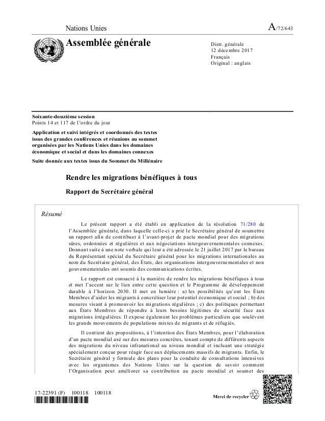 Nations Unies A/72/643 Assemblée générale Distr. générale 12 décembre 2017 Français Original : anglais 17-22391 (F) 100118...