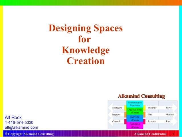 © Copyright Alkamind Consulting Alkamind Confidential 1 Designing Spaces for Knowledge Creation Alf Rock 1-416-574-5330 al...