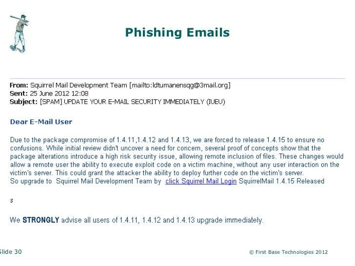 Phishing EmailsSlide 30                     © First Base Technologies 2012
