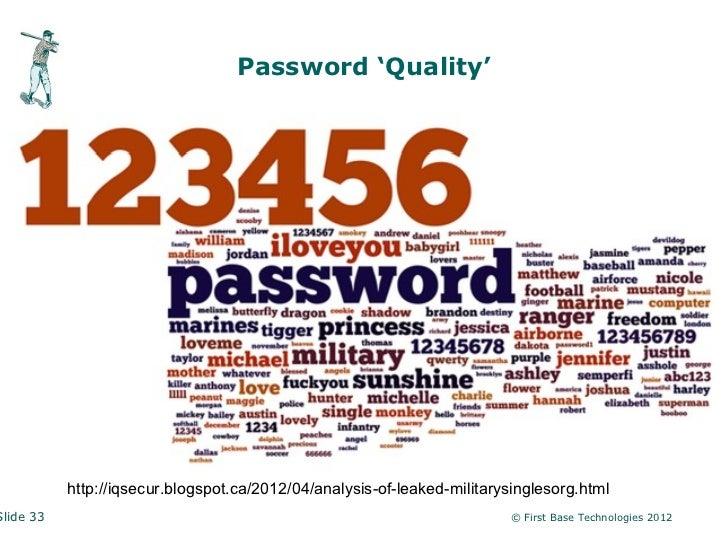 Password 'Quality'           http://iqsecur.blogspot.ca/2012/04/analysis-of-leaked-militarysinglesorg.htmlSlide 33        ...
