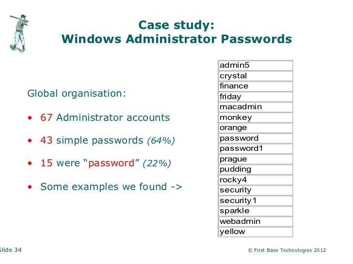 Case study:                 Windows Administrator Passwords                                         admin5                ...