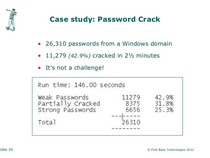Case study: Password Crack           • 26,310 passwords from a Windows domain           • 11,279 (42.9%) cracked in 2½ min...