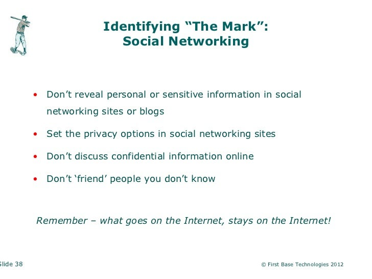 """Identifying """"The Mark"""":                            Social Networking           • Don't reveal personal or sensitive inform..."""