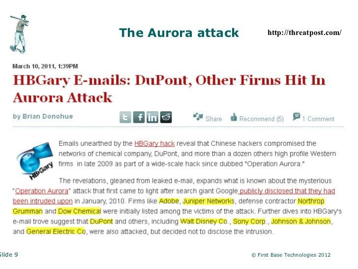 The Aurora attack         http://threatpost.com/Slide 9                       © First Base Technologies 2012