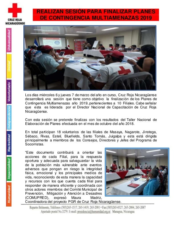 Los días miércoles 6 y jueves 7 de marzo del año en curso, Cruz Roja Nicaragüense desarrollará una sesión que tiene como o...
