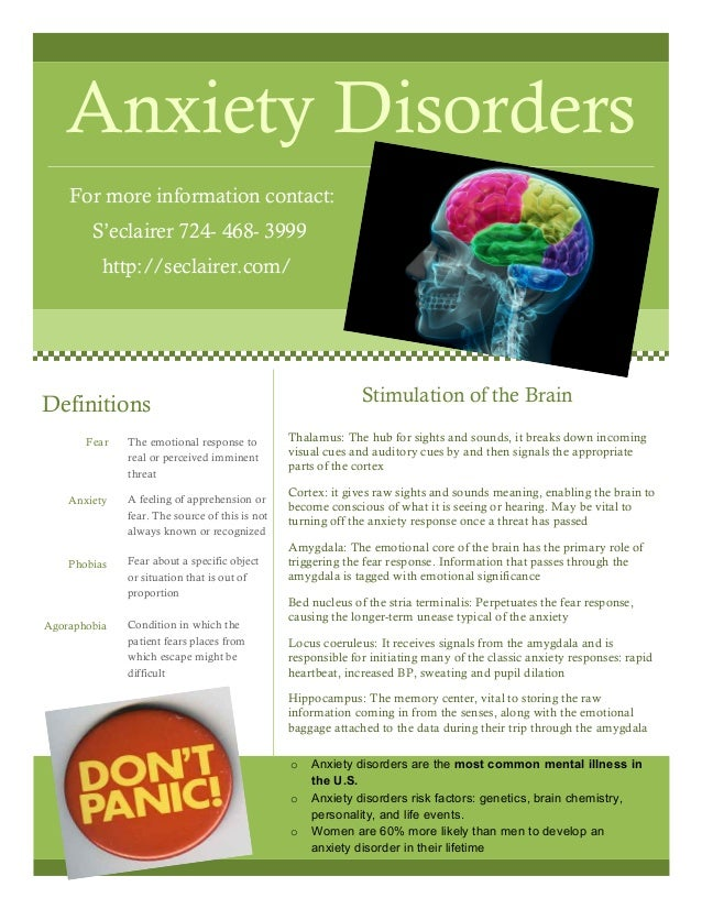 Anxiety Disorders For more information contact: S'eclairer 724- 468- 3999 http://seclairer.com/ Thalamus: The hub for sigh...
