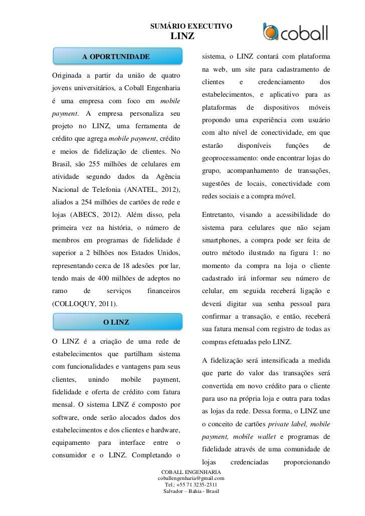 SUMÁRIO EXECUTIVO                                             LINZ            A OPORTUNIDADE                              ...