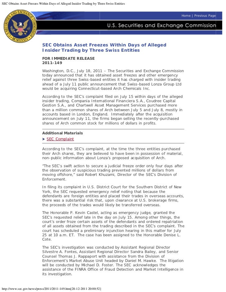 SEC Obtains Asset Freezes Within Days of Alleged Insider Trading by Three Swiss Entities                                  ...
