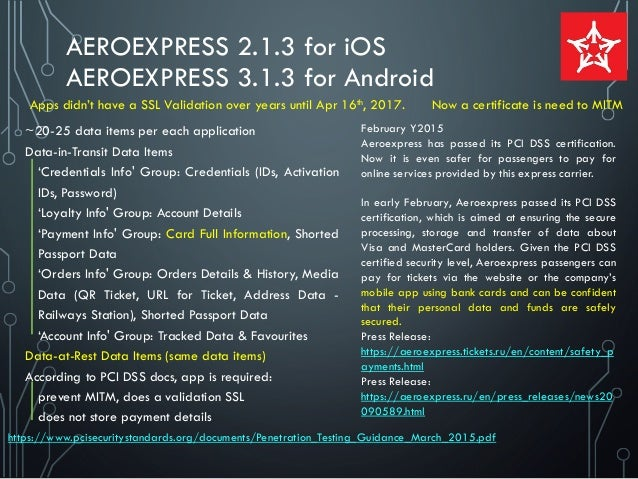 AEROEXPRESS 2.1.3 for iOS AEROEXPRESS 3.1.3 for Android ~20-25 data items per each application Data-in-Transit Data Items ...