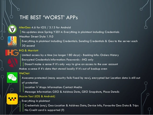 THE BEST 'WORST' APPs AlterGeo 4.6 for iOS / 3.13 for Android No updates since Spring Y2014. Everything in plaintext inclu...