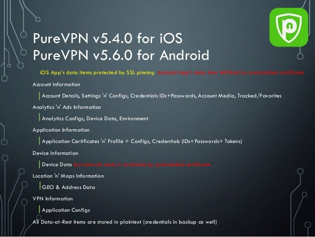 PureVPN v5.4.0 for iOS PureVPN v5.6.0 for Android Account Information Account Details, Settings 'n' Configs, Credentials I...