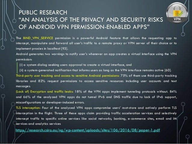 """PUBLIC RESEARCH """"AN ANALYSIS OF THE PRIVACY AND SECURITY RISKS OF ANDROID VPN PERMISSION-ENABLED APPS"""" The BIND_VPN_SERVIC..."""