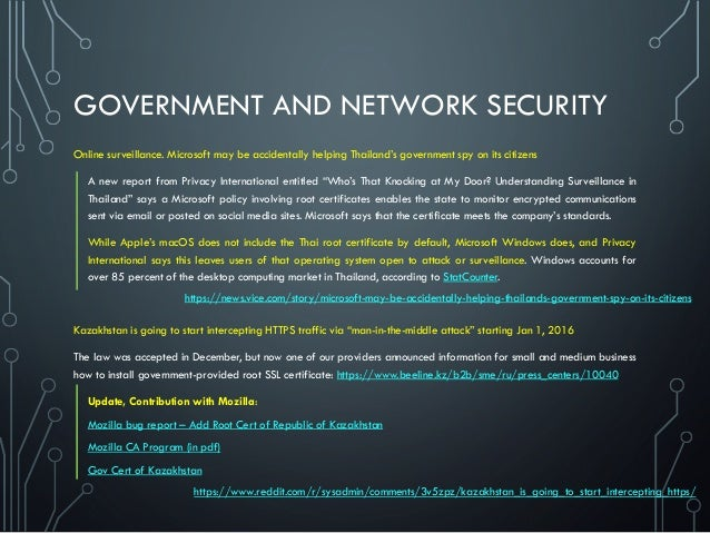 GOVERNMENT AND NETWORK SECURITY Online surveillance. Microsoft may be accidentally helping Thailand's government spy on it...