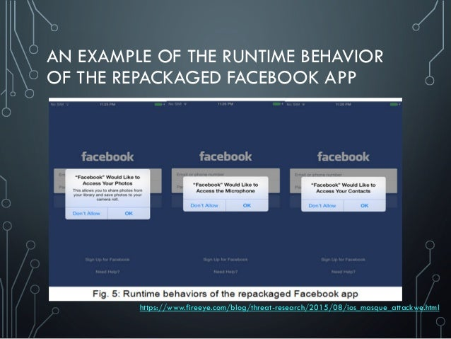 AN EXAMPLE OF THE RUNTIME BEHAVIOR OF THE REPACKAGED FACEBOOK APP https://www.fireeye.com/blog/threat-research/2015/08/ios...