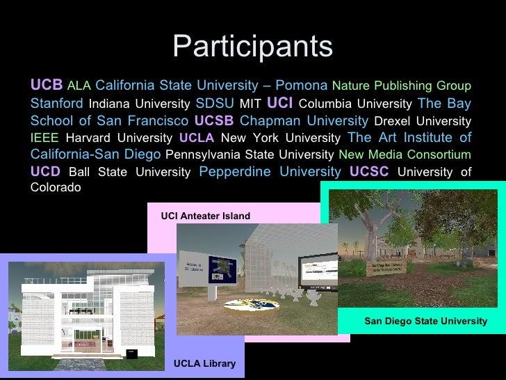 Participants UCI Anteater Island UCB   ALA   California State University – Pomona   Nature Publishing Group   Stanford  In...