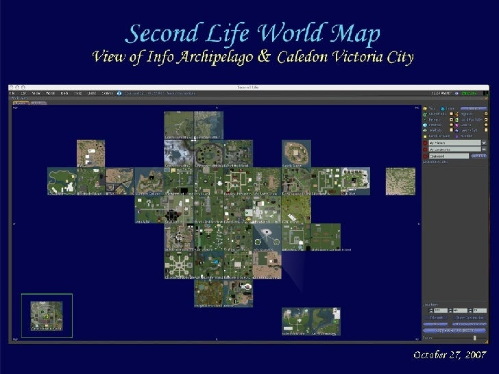 Second Life World Map: view of Info Archipelago  Library Islands, Caledon Victoria City & Partner Islands