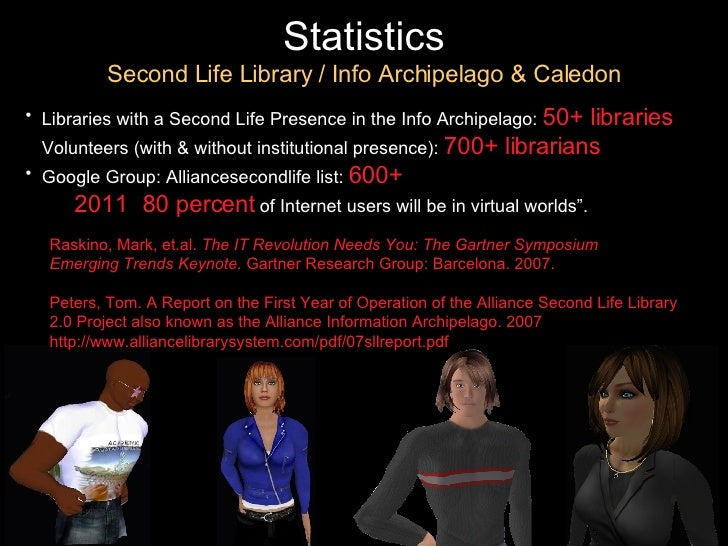 Statistics Second Life Library / Info Archipelago & Caledon <ul><li>Libraries with a Second Life Presence in the Info Arch...