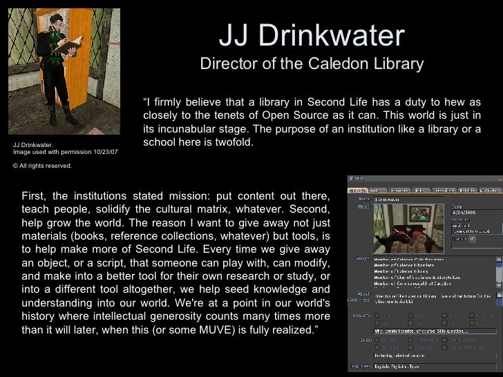 JJ Drinkwater Director of the Caledon Library JJ Drinkwater.  Image used with permission 10/23/07 © All rights reserved.  ...