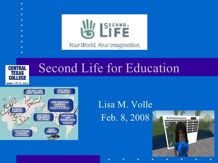 Second Life for Education Lisa M. Volle Feb. 8, 2008