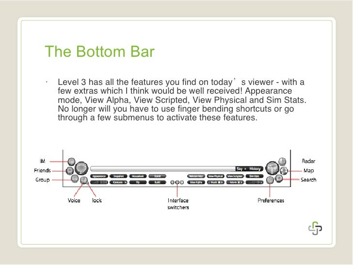 The Bottom Bar <ul><li>Level 3 has all the features you find on today 's  viewer - with a few extras which I think would b...