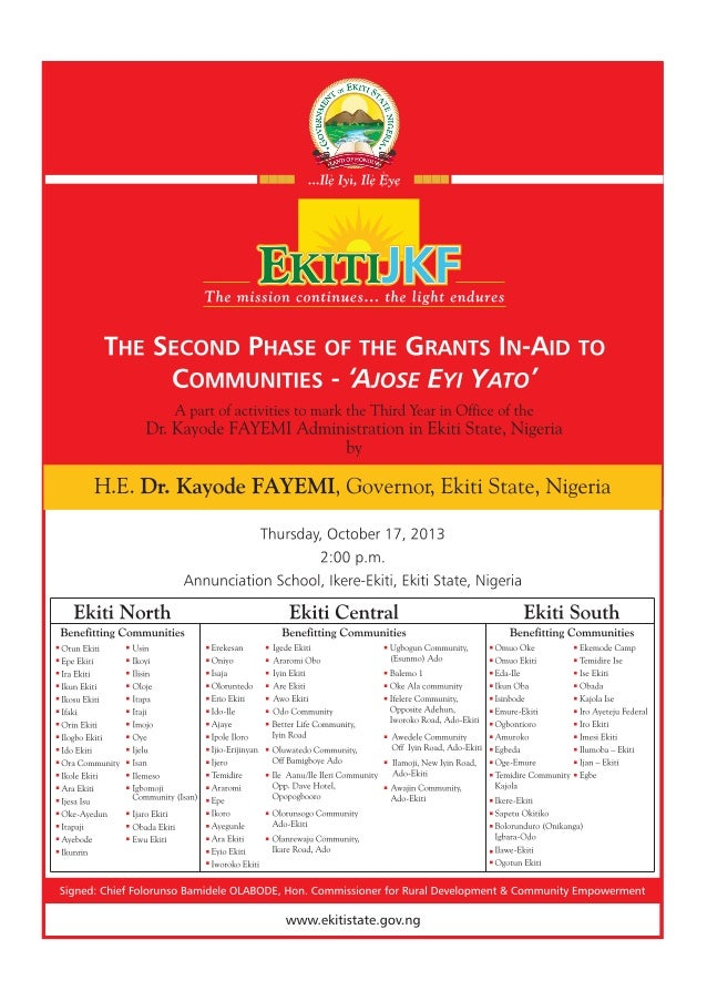 The Second Phase Of The Grants In-Aid To Communities - 'Ajose Eyi Yato'