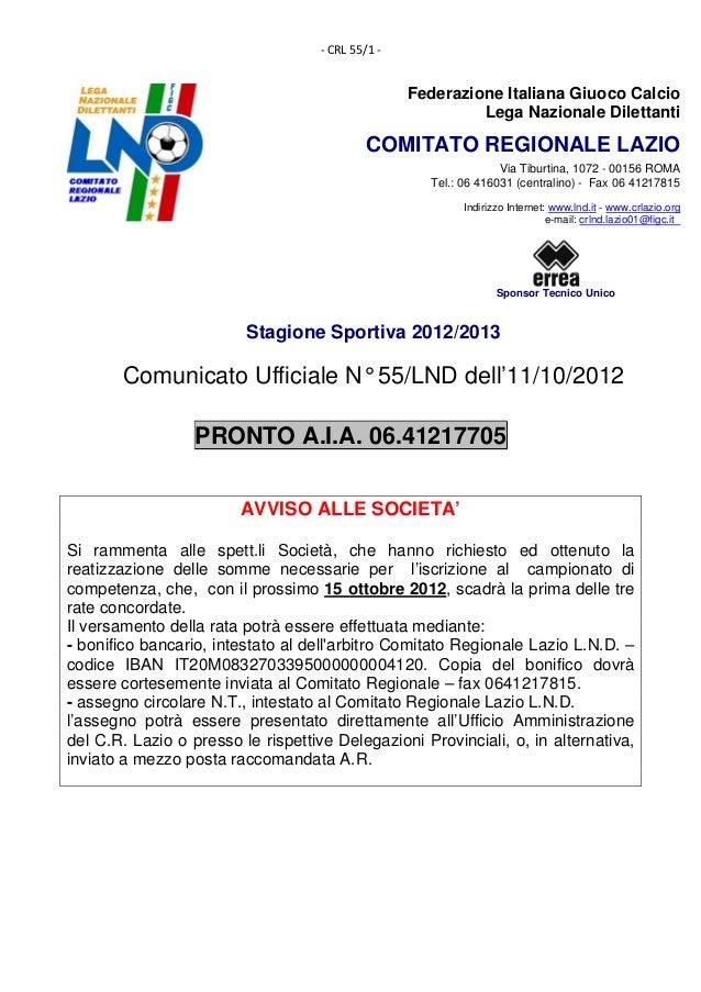 ‐CRL55/1‐                                                    Federazione Italiana Giuoco Calcio                       ...