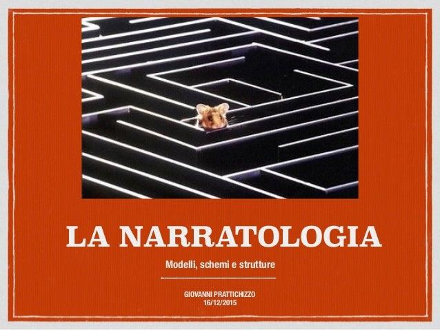 LA NARRATOLOGIA Modelli, schemi e strutture GIOVANNI PRATTICHIZZO 16/12/2015