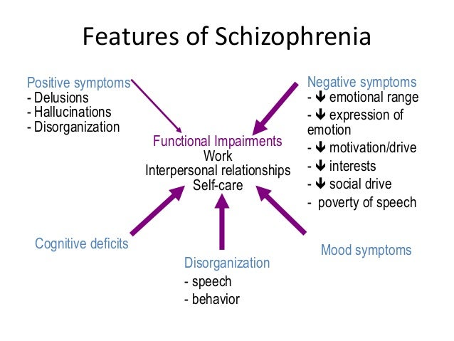 the main features of schizophrenia Schizophrenia: a detailed booklet that provides an overview on schizophrenia it describes symptoms, risk factors, and treatments it describes symptoms, risk factors, and treatments it also contains information on getting help and coping.