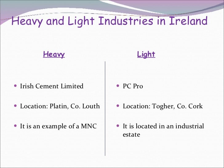5 heavy and light industries