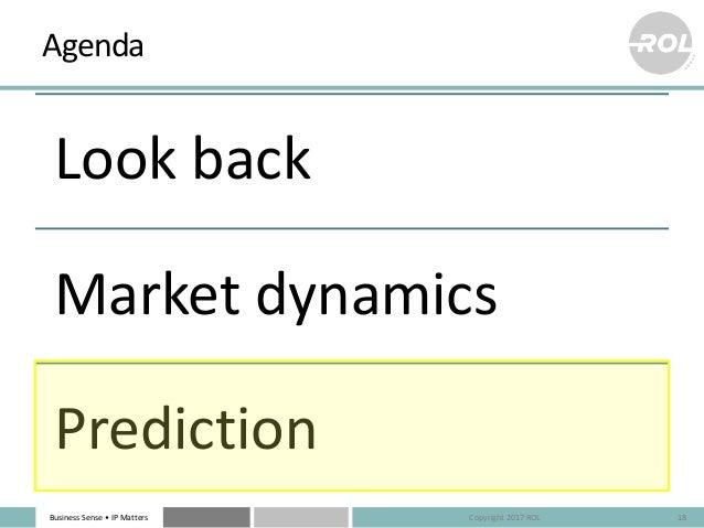 Business Sense • IP Matters Agenda Look back Market dynamics Prediction 18Copyright 2017 ROL