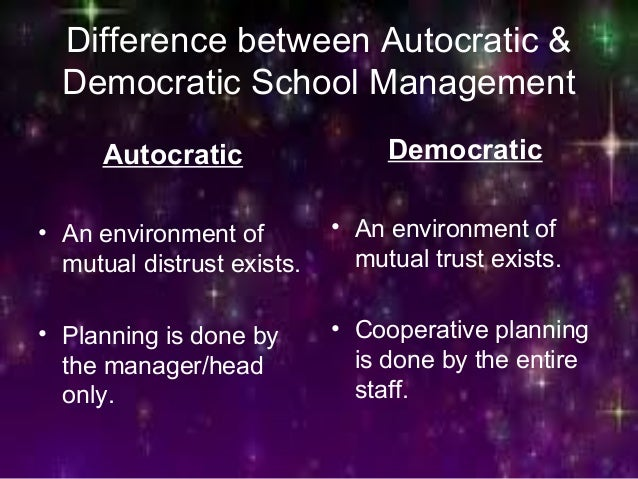 Difference between Autocratic & Democratic School Management Autocratic • An environment of mutual distrust exists. • Plan...