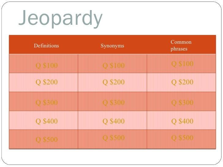 Jeopardy Definitions Synonyms Common  phrases Q $100 Q $200 Q $300 Q $400 Q $500 Q $100 Q $100 Q $200 Q $200 Q $300 Q $300...