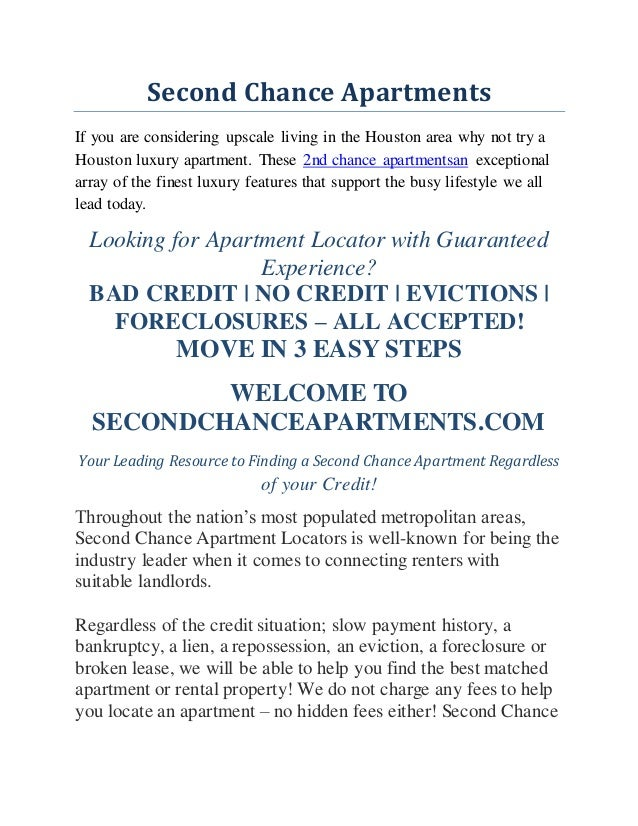 Second Chance Apartments