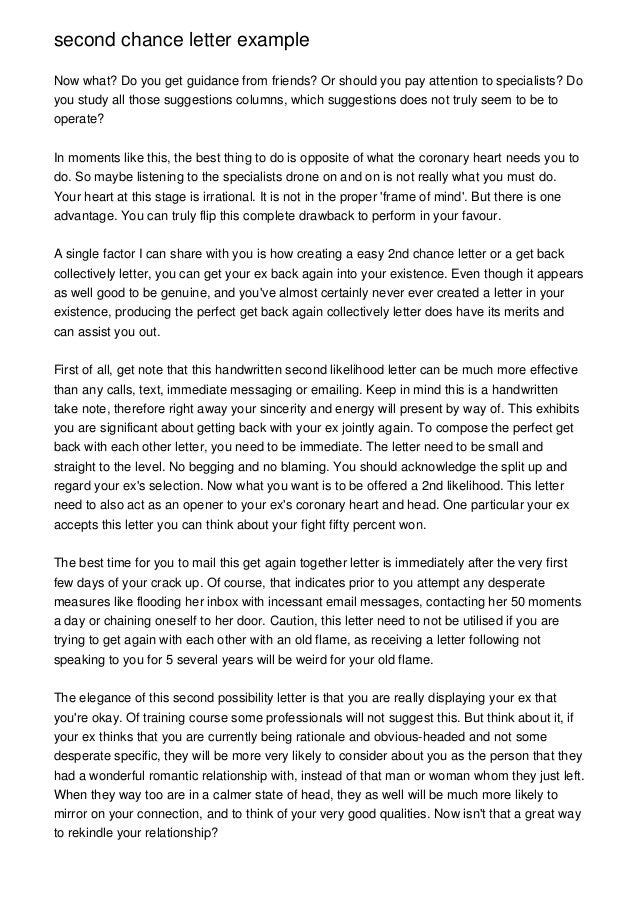 second chance letter examplenow what do you get guidance from friends - Second Chance Letter Example