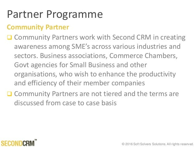 © 2016 Soft Solvers Solutions. All rights reserved. Partner Programme Community Partner  Community Partners work with Sec...