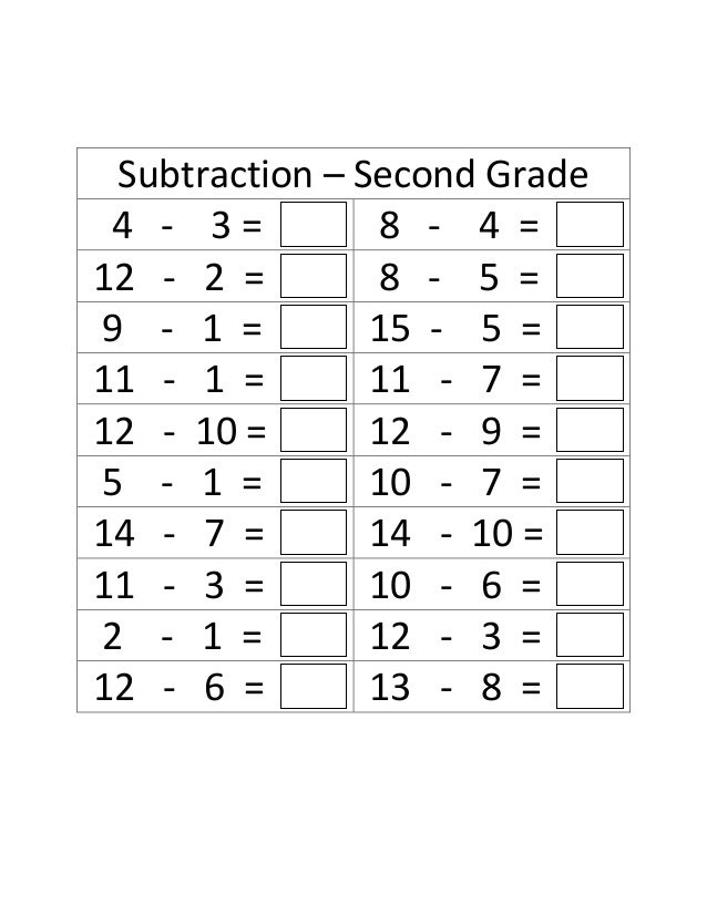 Addition and subtraction facts worksheets for 2nd grade