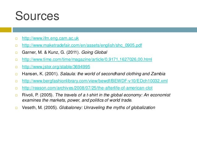 Secondhand clothing trade for The travels of at shirt in the global economy pdf