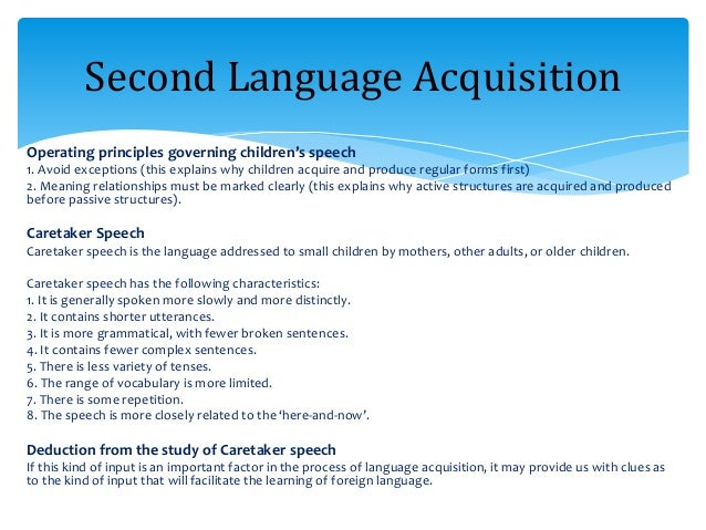 principles of language acquisition and reading