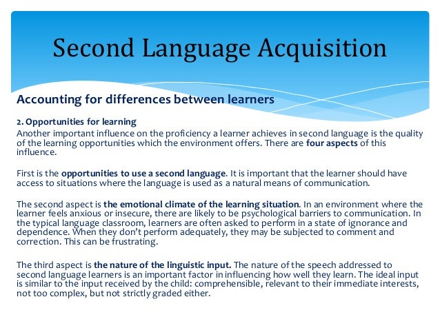language acquisition among the l2 learners