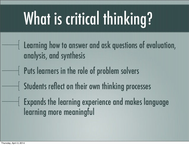 Problem based learning critical thinking skills