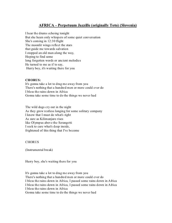 Lyric i bless the rains down in africa lyrics : Second language singers songbook