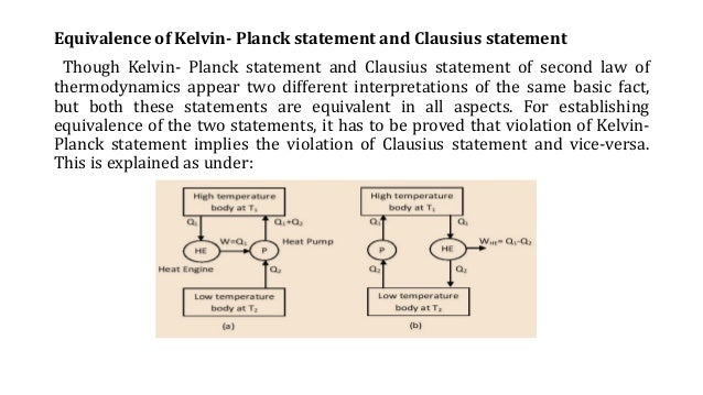kelvi plank and clausius statement equivalence Inequality (1) is not a logical consequence of the kelvin-planck formulation  a  logical equivalent of the second law, but a stronger statement.