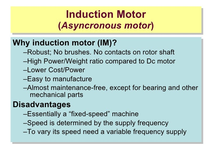 Second lesson induction motor for Advantages of ac motor